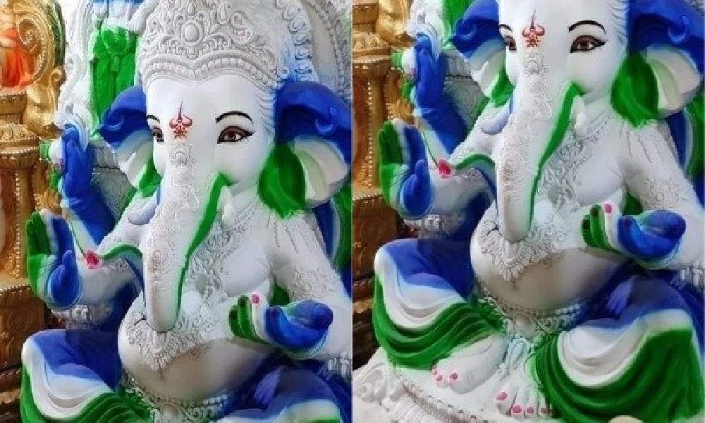 ఫోటో వైరల్ :  వినాయకుడి విగ్రహానికి వైసీపీ రంగులు...